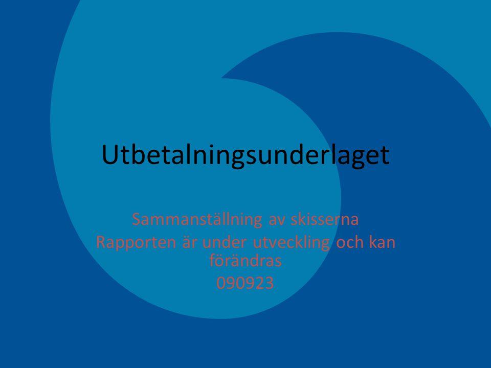 51 Utbetalningsunderlaget Sammanställning av skisserna Rapporten är under utveckling och kan förändras 090923