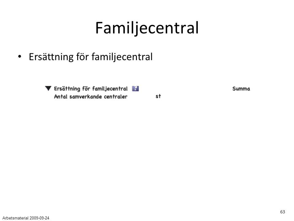 63 Familjecentral Ersättning för familjecentral Arbetsmaterial 2009-09-24