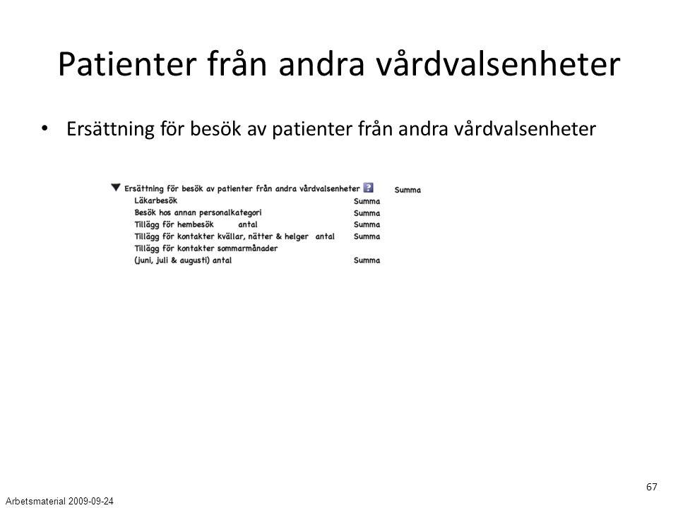 67 Patienter från andra vårdvalsenheter Ersättning för besök av patienter från andra vårdvalsenheter Arbetsmaterial 2009-09-24