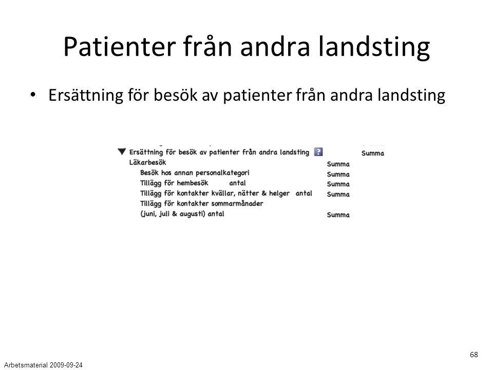 68 Patienter från andra landsting Ersättning för besök av patienter från andra landsting Arbetsmaterial 2009-09-24