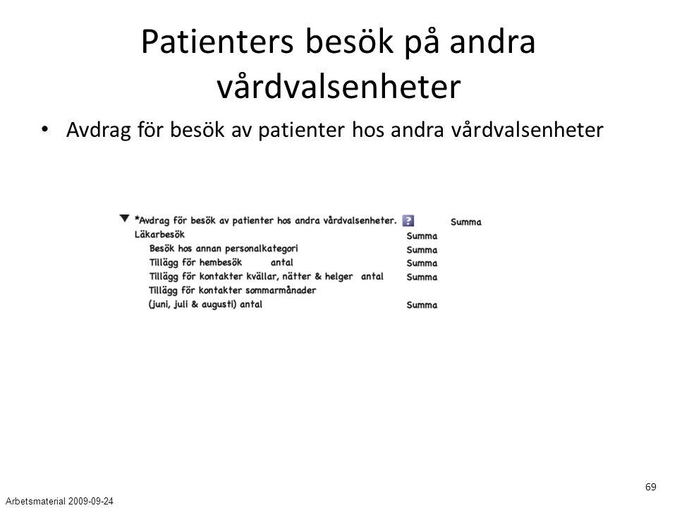 69 Patienters besök på andra vårdvalsenheter Avdrag för besök av patienter hos andra vårdvalsenheter Arbetsmaterial 2009-09-24