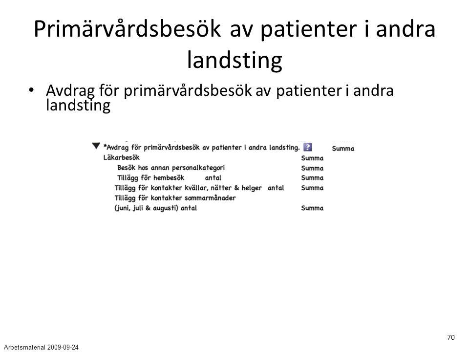 70 Primärvårdsbesök av patienter i andra landsting Avdrag för primärvårdsbesök av patienter i andra landsting Arbetsmaterial 2009-09-24