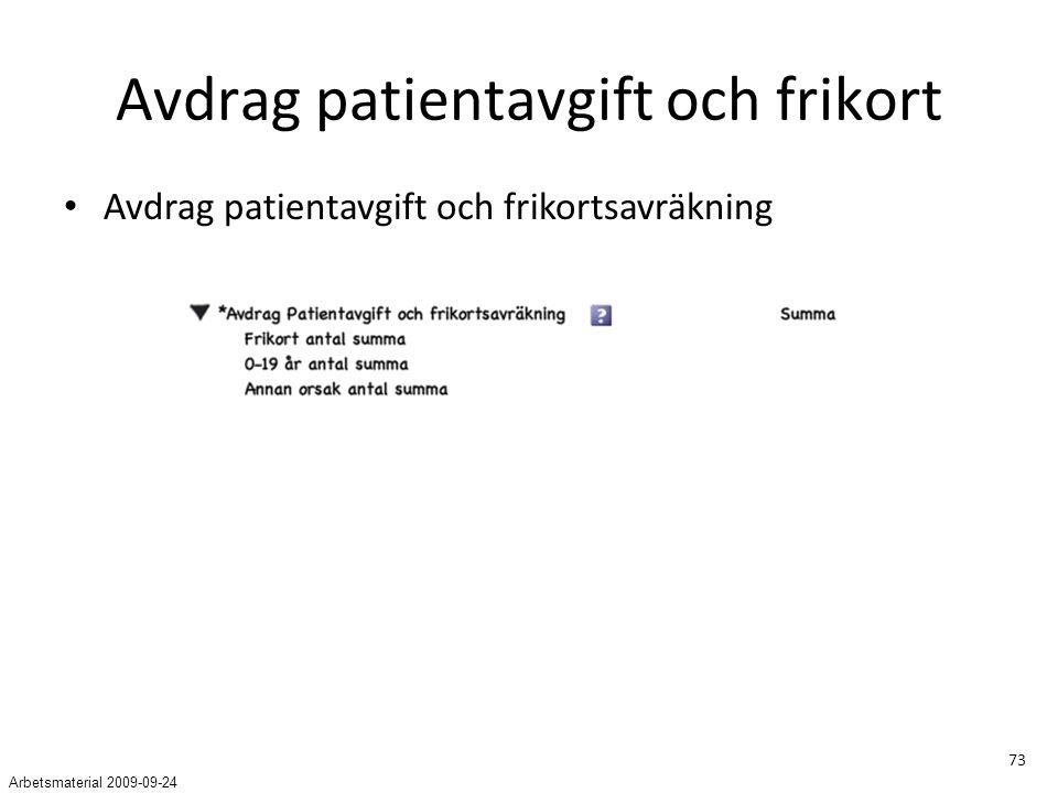 73 Avdrag patientavgift och frikort Avdrag patientavgift och frikortsavräkning Arbetsmaterial 2009-09-24