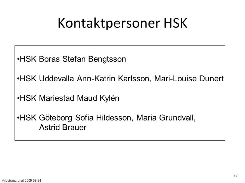 77 Kontaktpersoner HSK HSK Borås Stefan Bengtsson HSK Uddevalla Ann-Katrin Karlsson, Mari-Louise Dunert HSK Mariestad Maud Kylén HSK Göteborg Sofia Hildesson, Maria Grundvall, Astrid Brauer Arbetsmaterial 2009-09-24
