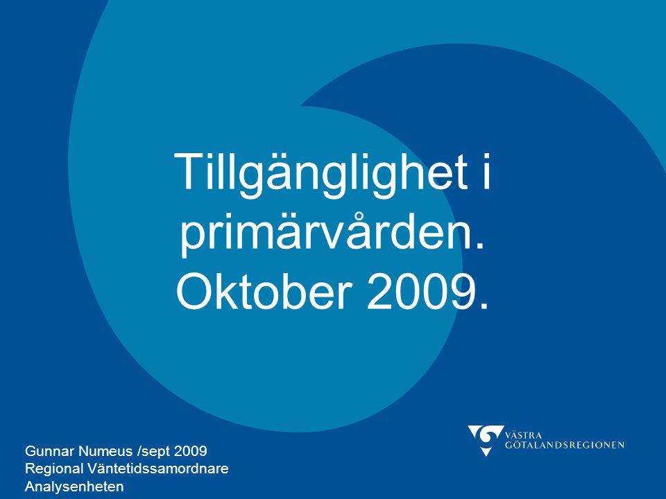 Tillgänglighet i primärvården. Oktober 2009. Gunnar Numeus /sept 2009 Regional Väntetidssamordnare Analysenheten