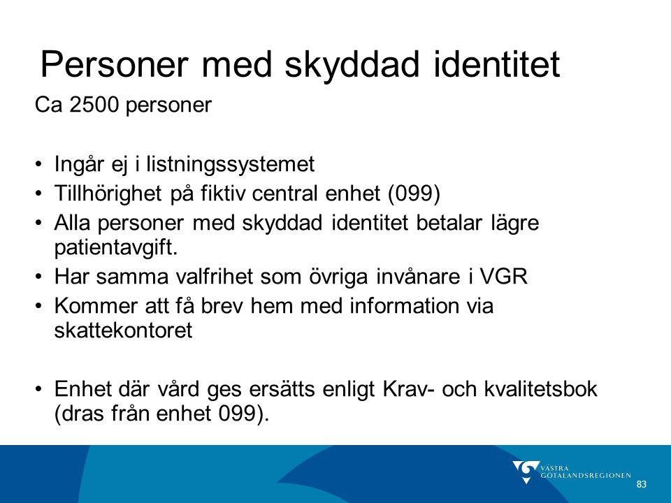 83 Personer med skyddad identitet Ca 2500 personer Ingår ej i listningssystemet Tillhörighet på fiktiv central enhet (099) Alla personer med skyddad identitet betalar lägre patientavgift.