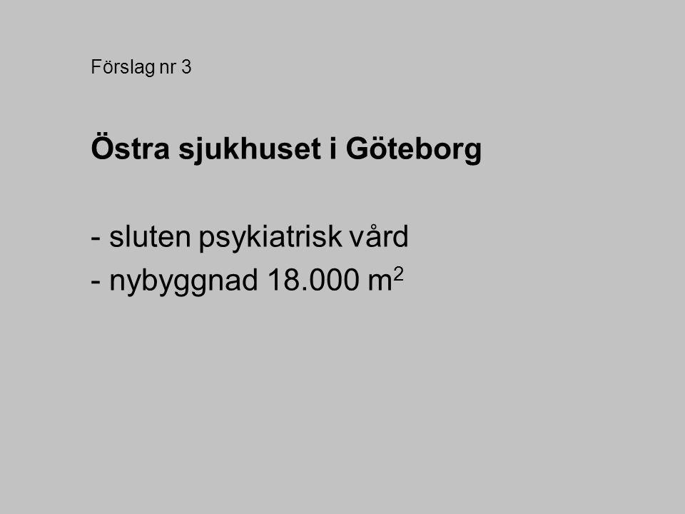 Förslag nr 3 Östra sjukhuset i Göteborg - sluten psykiatrisk vård - nybyggnad 18.000 m 2