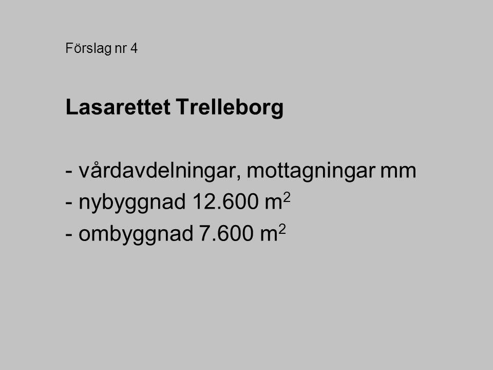 Förslag nr 4 Lasarettet Trelleborg - vårdavdelningar, mottagningar mm - nybyggnad 12.600 m 2 - ombyggnad 7.600 m 2