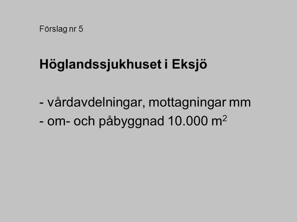 Förslag nr 5 Höglandssjukhuset i Eksjö - vårdavdelningar, mottagningar mm - om- och påbyggnad 10.000 m 2