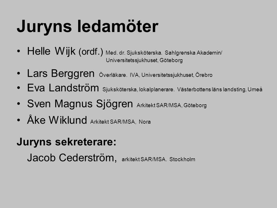 Juryns ledamöter Helle Wijk (ordf.) Med.dr. Sjuksköterska.