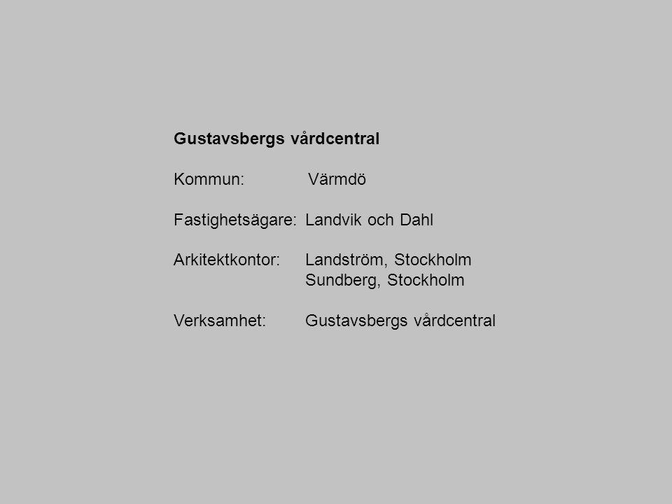 Gustavsbergs vårdcentral Kommun: Värmdö Fastighetsägare: Landvik och Dahl Arkitektkontor: Landström, Stockholm Sundberg, Stockholm Verksamhet: Gustavs