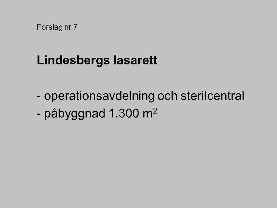 Förslag nr 7 Lindesbergs lasarett - operationsavdelning och sterilcentral - påbyggnad 1.300 m 2