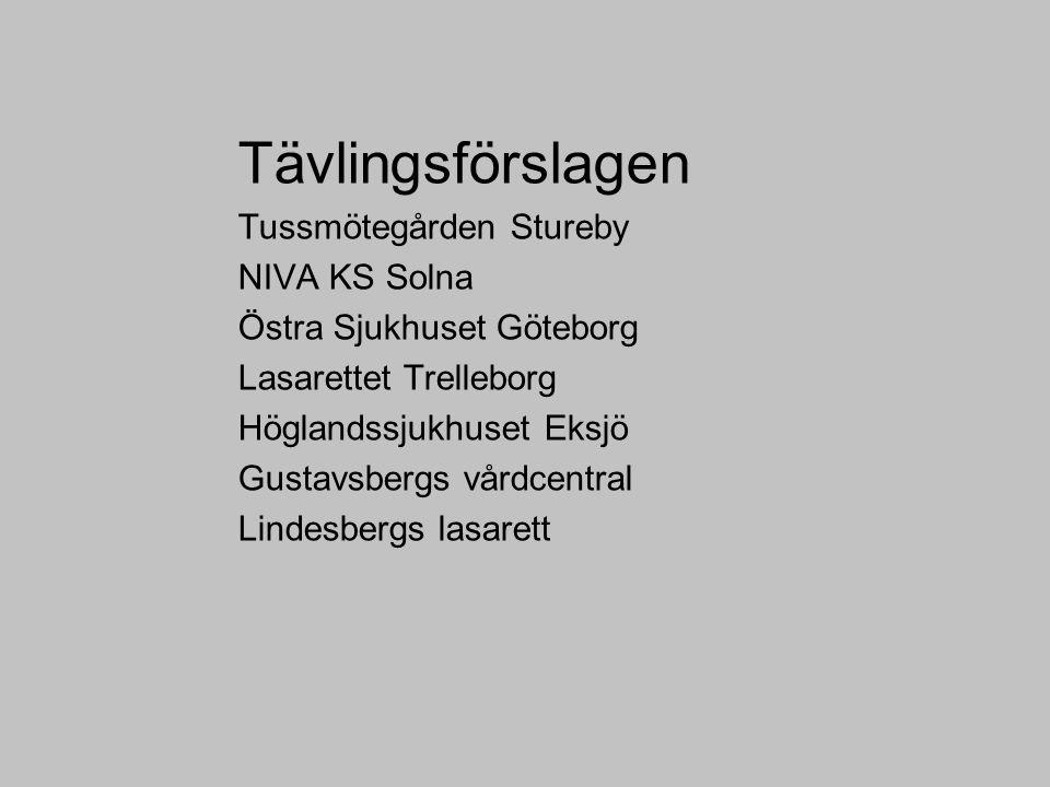 Tävlingsförslagen Tussmötegården Stureby NIVA KS Solna Östra Sjukhuset Göteborg Lasarettet Trelleborg Höglandssjukhuset Eksjö Gustavsbergs vårdcentral Lindesbergs lasarett
