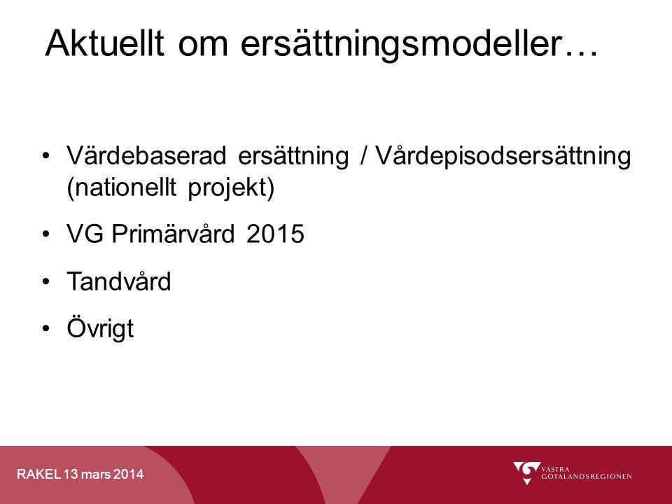 RAKEL 13 mars 2014 Aktuellt om ersättningsmodeller… Värdebaserad ersättning / Vårdepisodsersättning (nationellt projekt) VG Primärvård 2015 Tandvård Ö