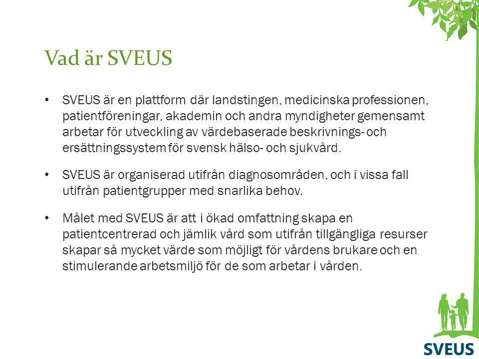 Vad är SVEUS SVEUS är en plattform där landstingen, medicinska professionen, patientföreningar, akademin och andra myndigheter gemensamt arbetar för u