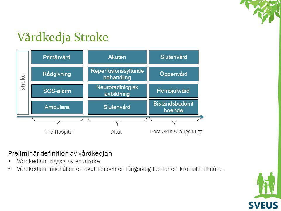 Vårdkedja Stroke Preliminär definition av vårdkedjan Vårdkedjan triggas av en stroke Vårdkedjan innehåller en akut fas och en långsiktig fas för ett k