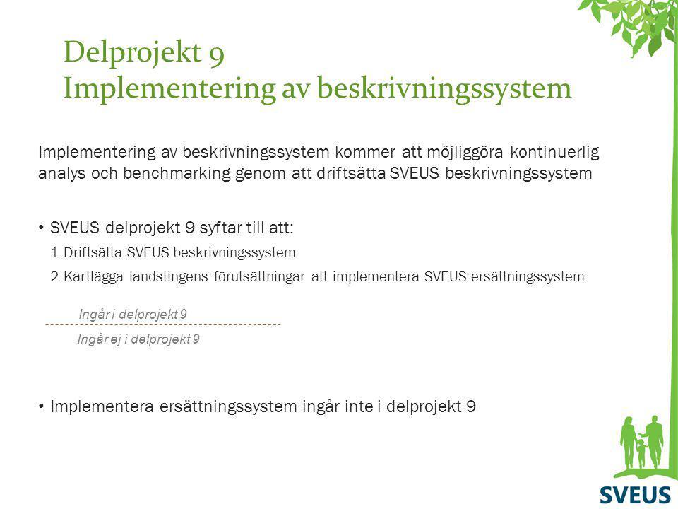 Delprojekt 9 Implementering av beskrivningssystem Implementering av beskrivningssystem kommer att möjliggöra kontinuerlig analys och benchmarking geno