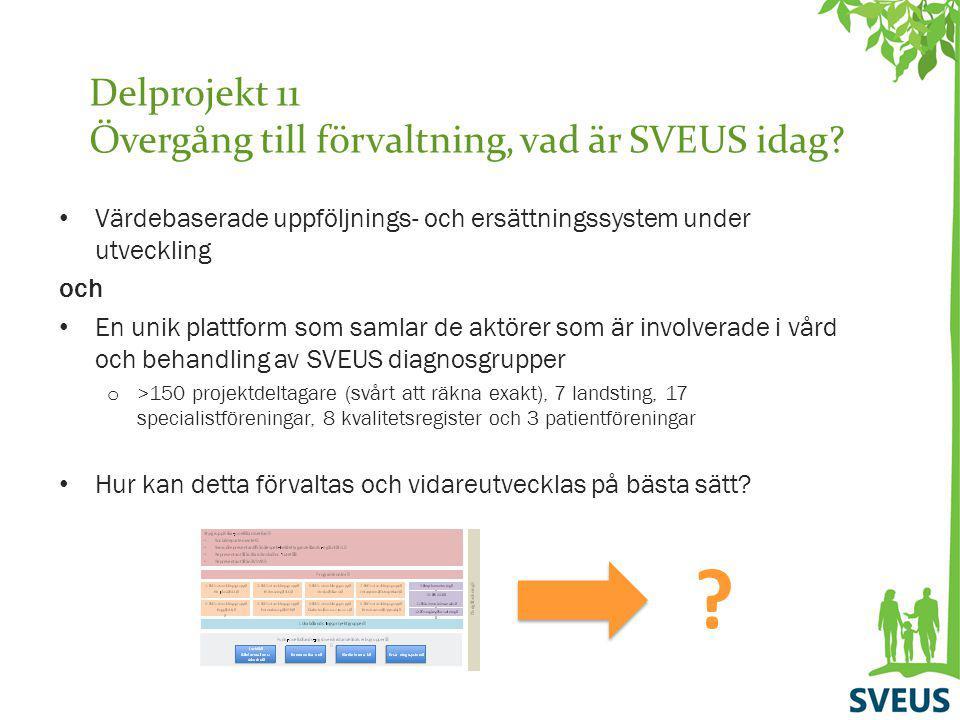 Delprojekt 11 Övergång till förvaltning, vad är SVEUS idag? Värdebaserade uppföljnings- och ersättningssystem under utveckling och En unik plattform s