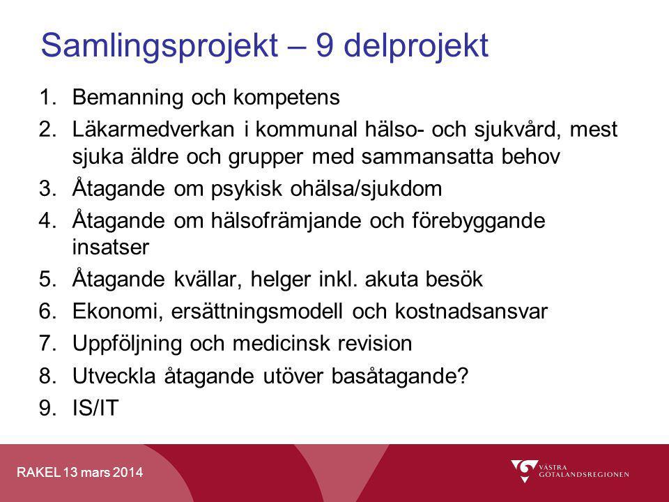 RAKEL 13 mars 2014 Samlingsprojekt – 9 delprojekt 1.Bemanning och kompetens 2.Läkarmedverkan i kommunal hälso- och sjukvård, mest sjuka äldre och grup