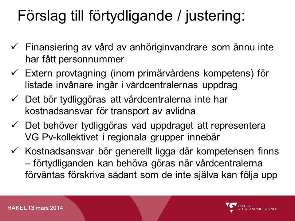 RAKEL 13 mars 2014 Förslag till förtydligande / justering: Finansiering av vård av anhöriginvandrare som ännu inte har fått personnummer Extern provta