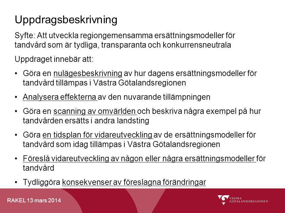 RAKEL 13 mars 2014 Uppdragsbeskrivning Syfte: Att utveckla regiongemensamma ersättningsmodeller för tandvård som är tydliga, transparanta och konkurre