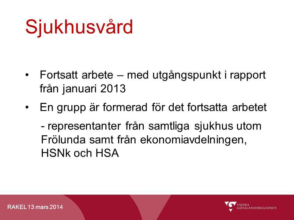 RAKEL 13 mars 2014 Sjukhusvård Fortsatt arbete – med utgångspunkt i rapport från januari 2013 En grupp är formerad för det fortsatta arbetet - represe