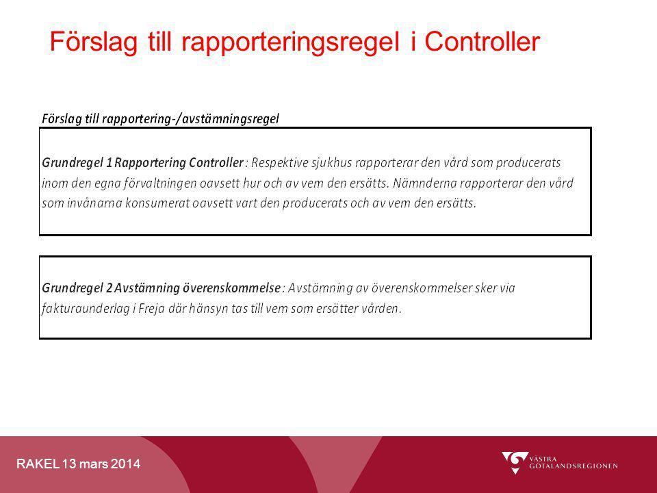 RAKEL 13 mars 2014 Förslag till rapporteringsregel i Controller