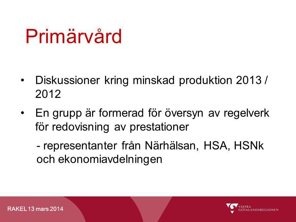RAKEL 13 mars 2014 Primärvård Diskussioner kring minskad produktion 2013 / 2012 En grupp är formerad för översyn av regelverk för redovisning av prest