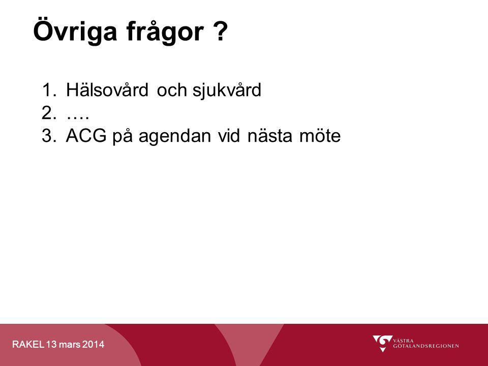 RAKEL 13 mars 2014 Övriga frågor ? 1.Hälsovård och sjukvård 2.…. 3.ACG på agendan vid nästa möte