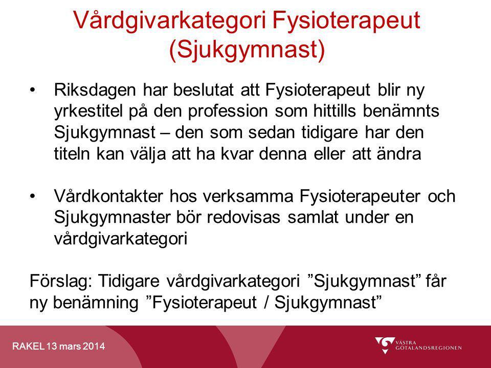 RAKEL 13 mars 2014 Vårdgivarkategori Fysioterapeut (Sjukgymnast) Riksdagen har beslutat att Fysioterapeut blir ny yrkestitel på den profession som hit