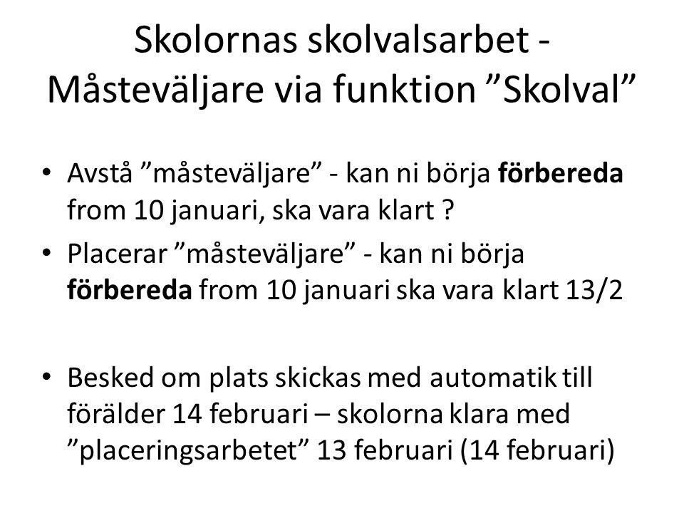 Skolornas skolvalsarbet - Måsteväljare via funktion Skolval Avstå måsteväljare - kan ni börja förbereda from 10 januari, ska vara klart .