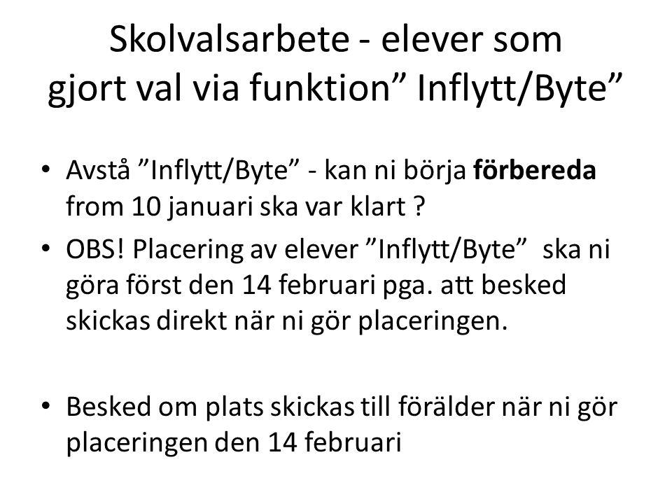 Skolvalsarbete - elever som gjort val via funktion Inflytt/Byte Avstå Inflytt/Byte - kan ni börja förbereda from 10 januari ska var klart .