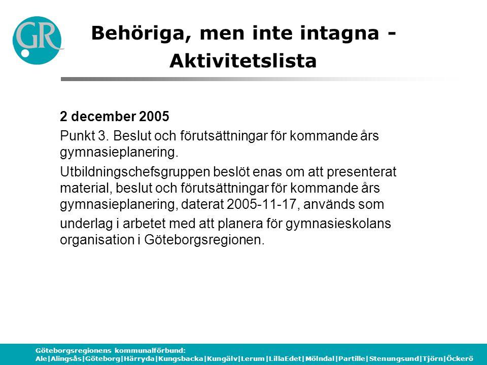 Göteborgsregionens kommunalförbund: Ale|Alingsås|Göteborg|Härryda|Kungsbacka|Kungälv|Lerum|LillaEdet|Mölndal|Partille|Stenungsund|Tjörn|Öckerö Behöriga, men inte intagna - Aktivitetslista 2 december 2005 Punkt 3.