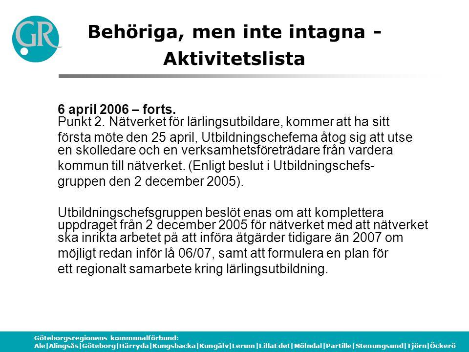 Göteborgsregionens kommunalförbund: Ale|Alingsås|Göteborg|Härryda|Kungsbacka|Kungälv|Lerum|LillaEdet|Mölndal|Partille|Stenungsund|Tjörn|Öckerö Behöriga, men inte intagna - Aktivitetslista 6 april 2006 – forts.