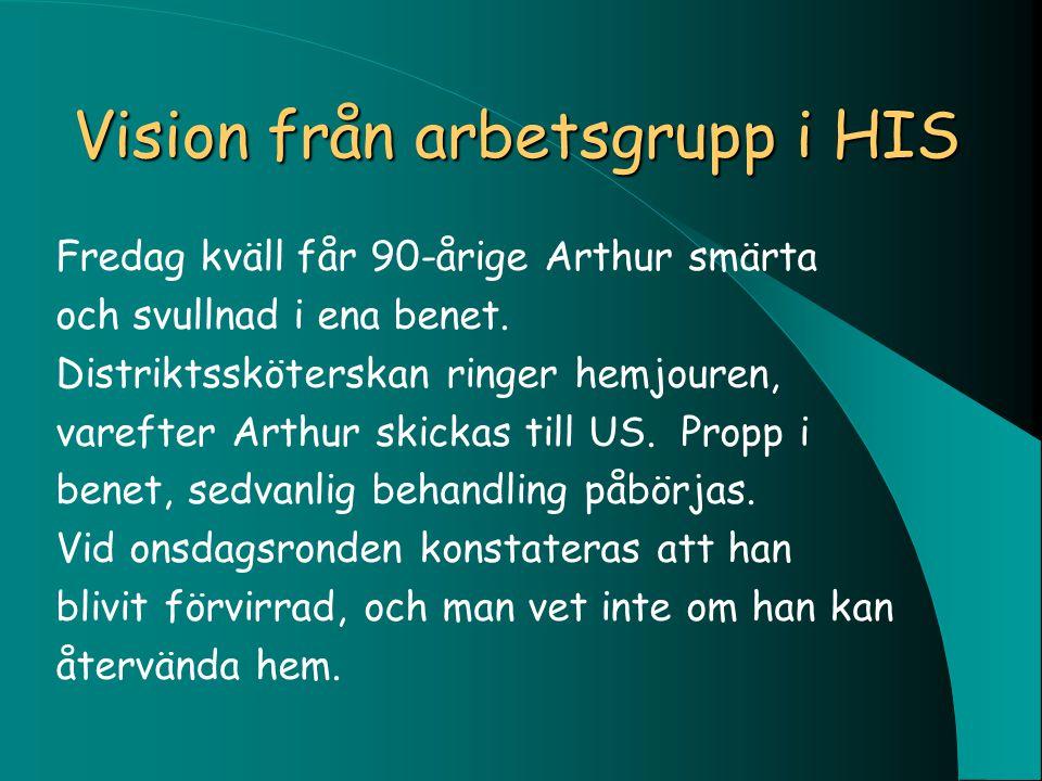 Vision från arbetsgrupp i HIS Fredag kväll får 90-årige Arthur smärta och svullnad i ena benet. Distriktssköterskan ringer hemjouren, varefter Arthur