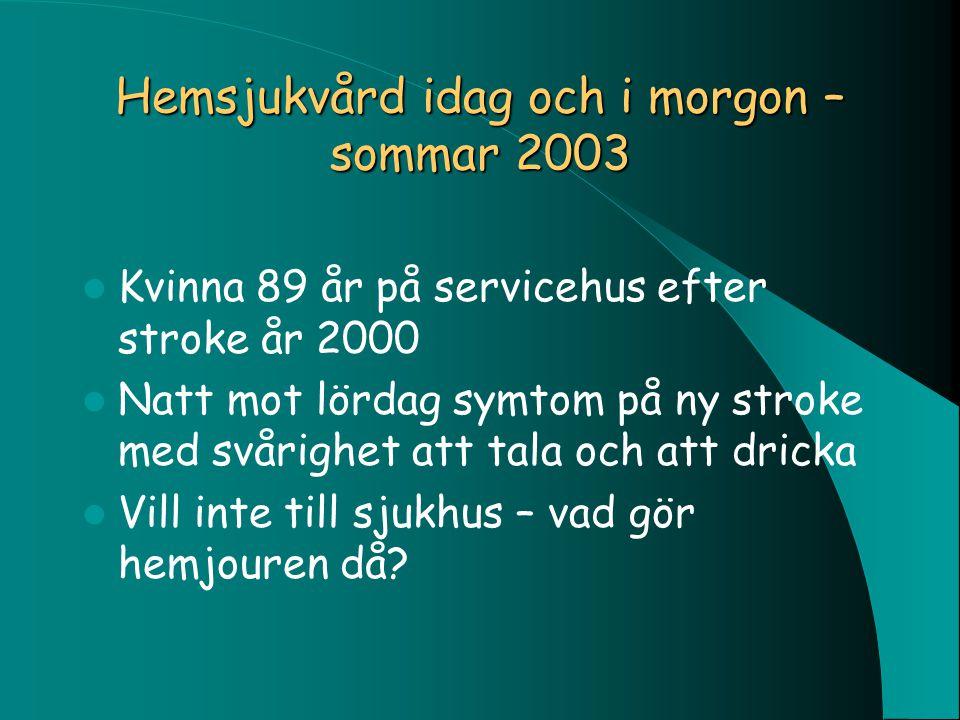 Hemsjukvård idag och i morgon – sommar 2003 Kvinna 89 år på servicehus efter stroke år 2000 Natt mot lördag symtom på ny stroke med svårighet att tala