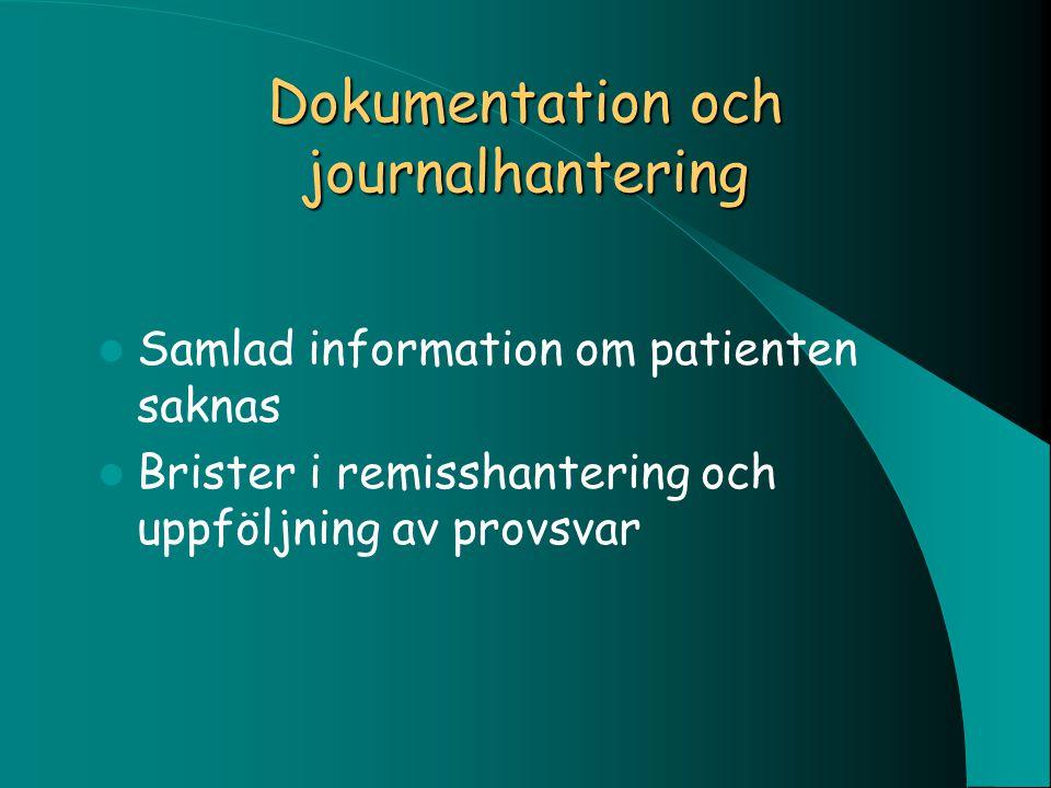 Dokumentation och journalhantering Samlad information om patienten saknas Brister i remisshantering och uppföljning av provsvar
