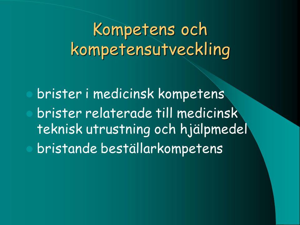 Kompetens och kompetensutveckling brister i medicinsk kompetens brister relaterade till medicinsk teknisk utrustning och hjälpmedel bristande beställa