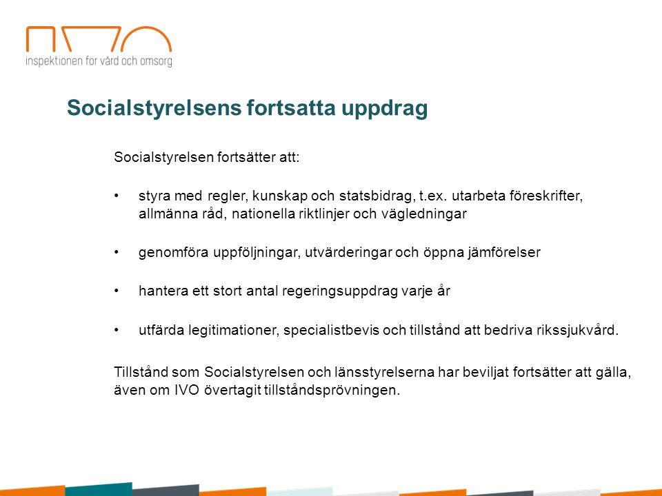 Socialstyrelsen fortsätter att: styra med regler, kunskap och statsbidrag, t.ex. utarbeta föreskrifter, allmänna råd, nationella riktlinjer och vägled