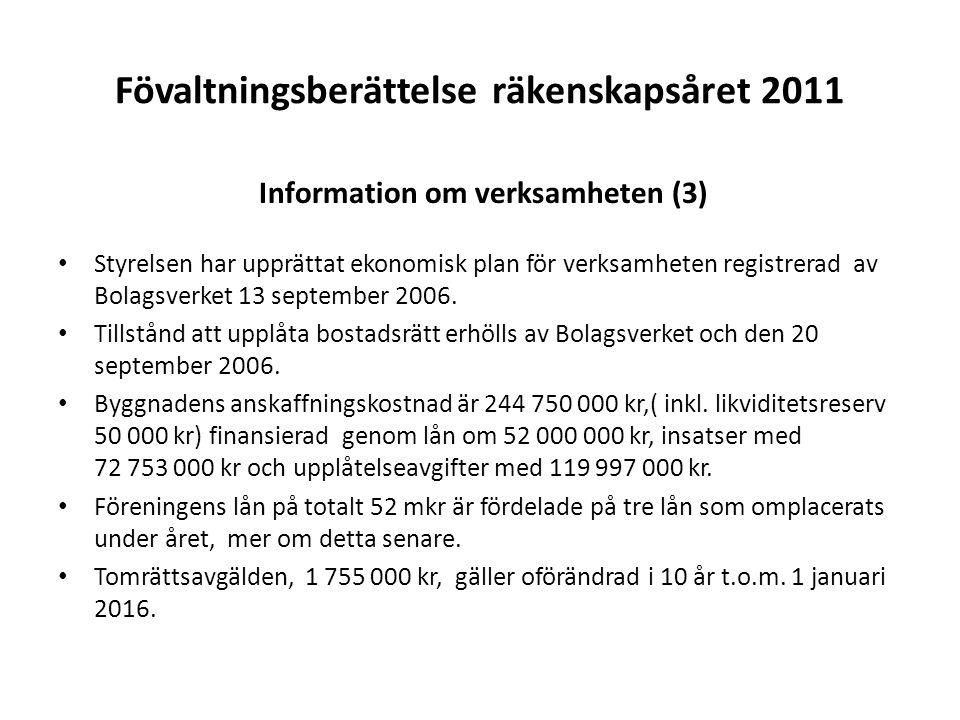 Fövaltningsberättelse räkenskapsåret 2011 Information om verksamheten (3) Styrelsen har upprättat ekonomisk plan för verksamheten registrerad av Bolag