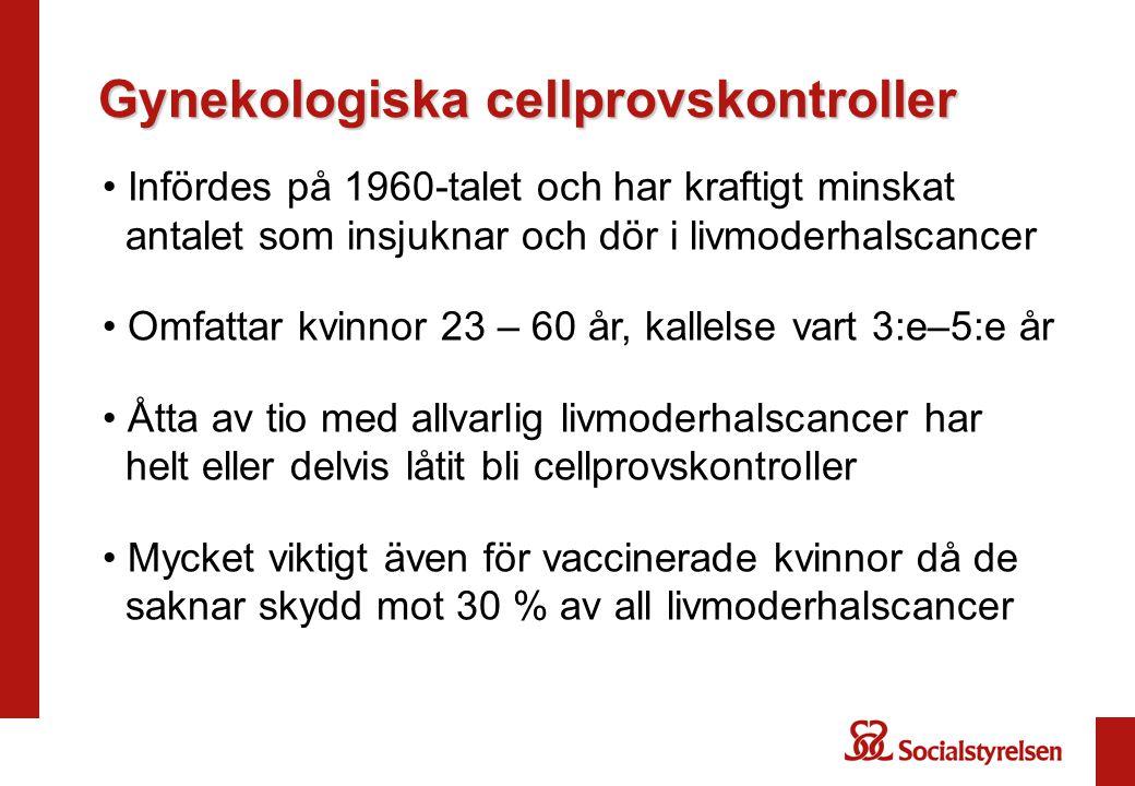 Gynekologiska cellprovskontroller Infördes på 1960-talet och har kraftigt minskat antalet som insjuknar och dör i livmoderhalscancer Omfattar kvinnor