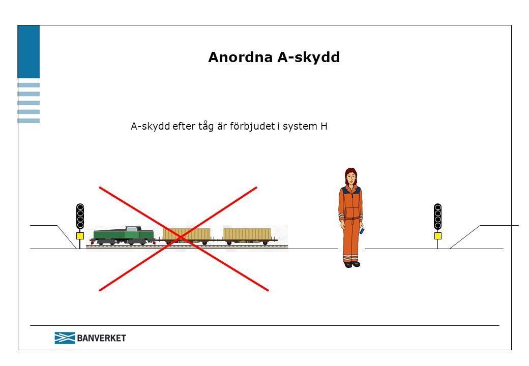 A-skydd efter tåg är förbjudet i system H Anordna A-skydd