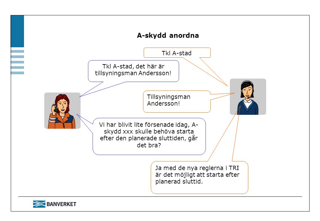 A-skydd anordna Tillsyningsman Andersson! Ja med de nya reglerna i TRI är det möjligt att starta efter planerad sluttid. Vi har blivit lite försenade