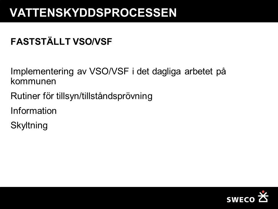 VATTENSKYDDSPROCESSEN FASTSTÄLLT VSO/VSF Implementering av VSO/VSF i det dagliga arbetet på kommunen Rutiner för tillsyn/tillståndsprövning Informatio