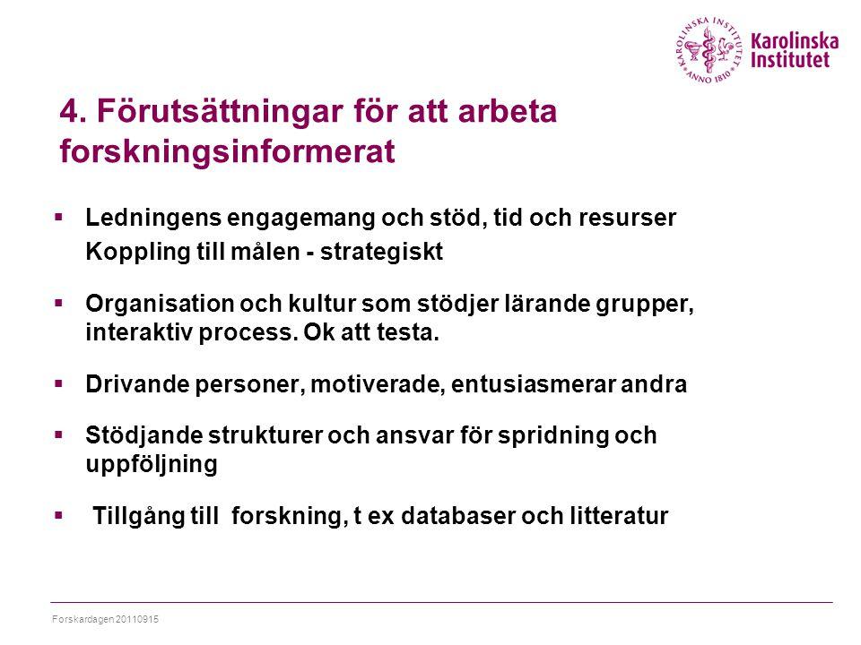 4. Förutsättningar för att arbeta forskningsinformerat  Ledningens engagemang och stöd, tid och resurser Koppling till målen - strategiskt  Organisa