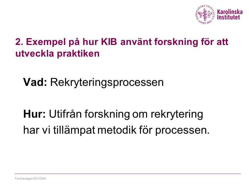 2. Exempel på hur KIB använt forskning för att utveckla praktiken Vad: Rekryteringsprocessen Hur: Utifrån forskning om rekrytering har vi tillämpat me