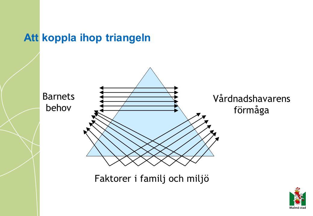 Att koppla ihop triangeln Barnets behov Vårdnadshavarens förmåga Faktorer i familj och miljö