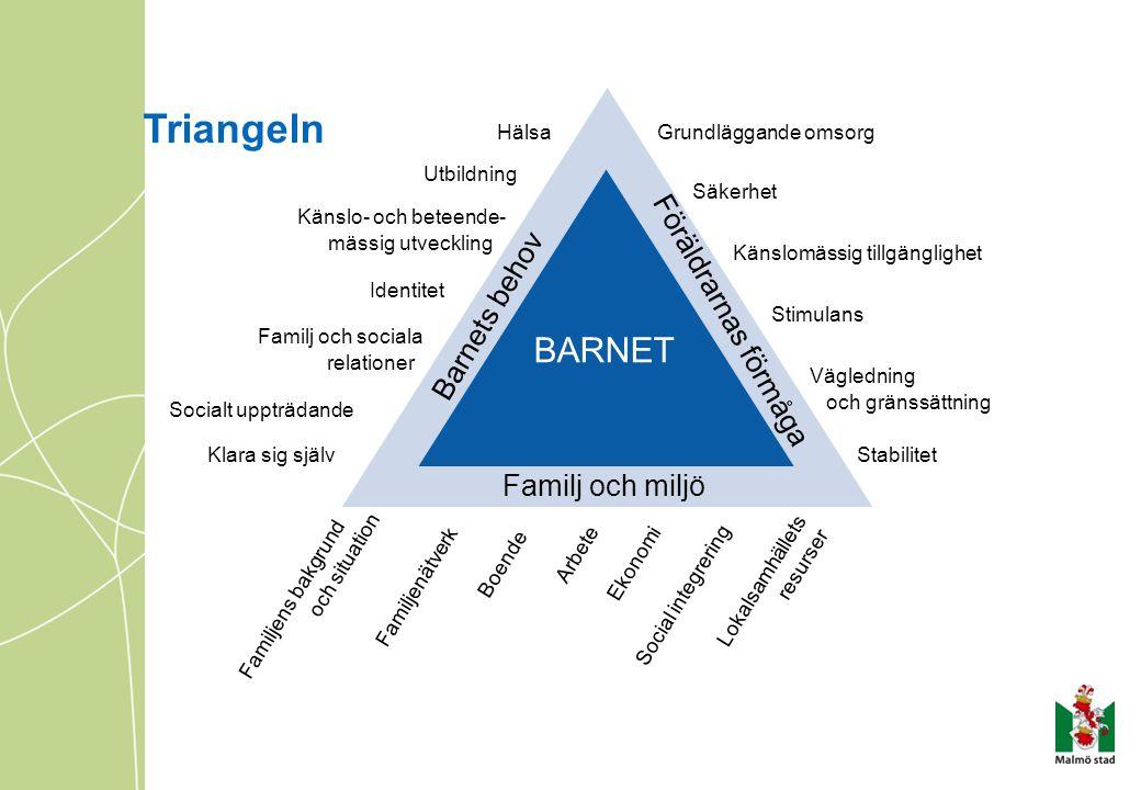 Triangeln BARNET Familj och miljö Barnets behov Föräldrarnas förmåga Hälsa Utbildning Känslo- och beteende- mässig utveckling Identitet Familj och soc