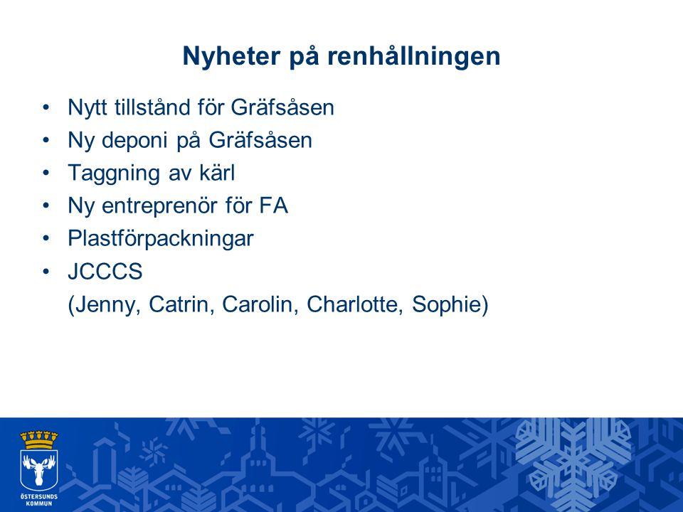 Nyheter på renhållningen Nytt tillstånd för Gräfsåsen Ny deponi på Gräfsåsen Taggning av kärl Ny entreprenör för FA Plastförpackningar JCCCS (Jenny, C