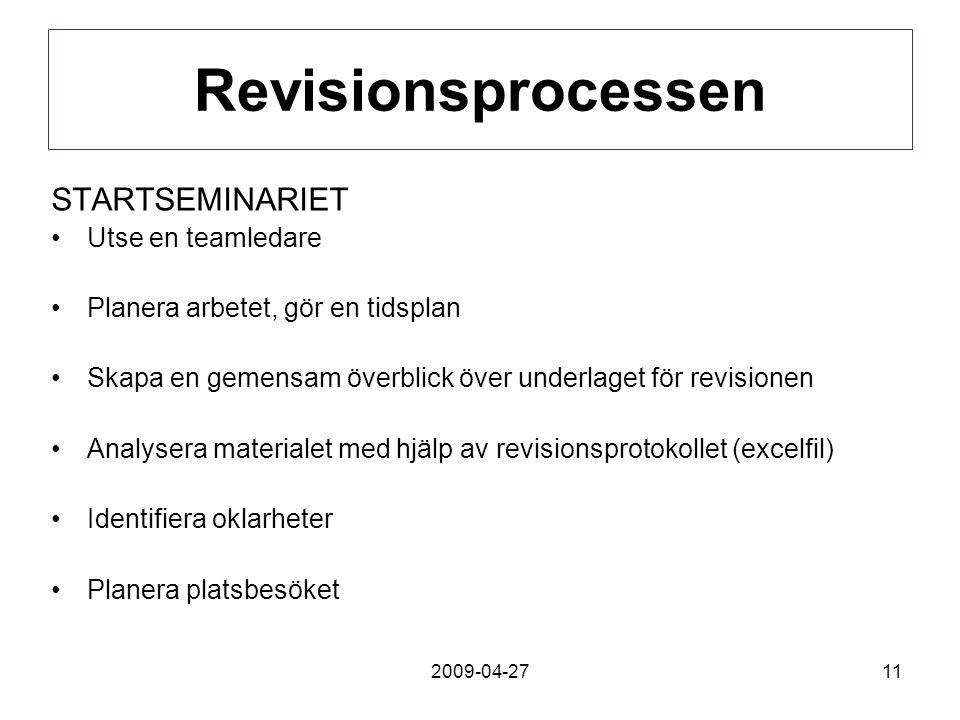 2009-04-2711 Revisionsprocessen STARTSEMINARIET Utse en teamledare Planera arbetet, gör en tidsplan Skapa en gemensam överblick över underlaget för re